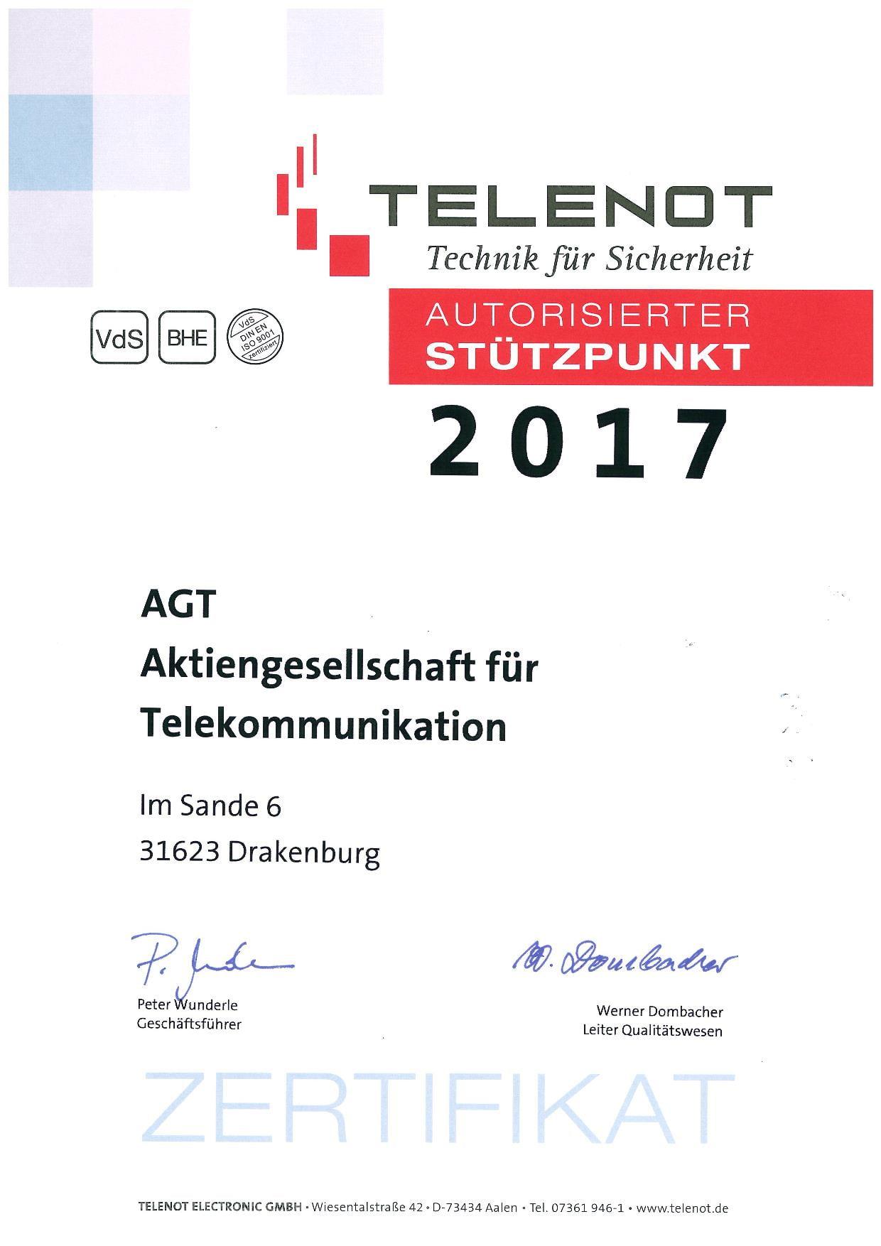 Telenot-Zertifikat