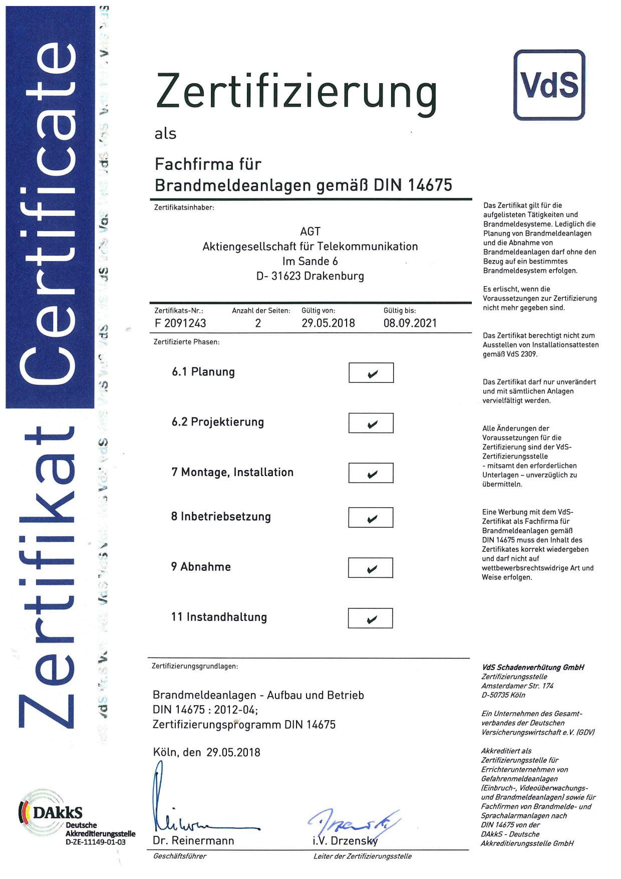 Zertifizierung VdS